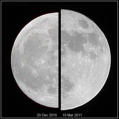 Comparación de luna promedio (izquierda) y superluna (derecha)