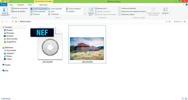 """Opción en cámara """"RAW+JPEG"""" para tener ambos archivos"""