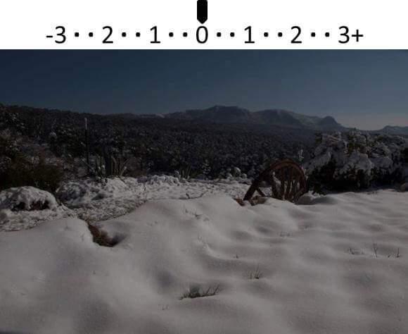 Photo de la neige prise avec la valeur indiquée par l'exposimètre