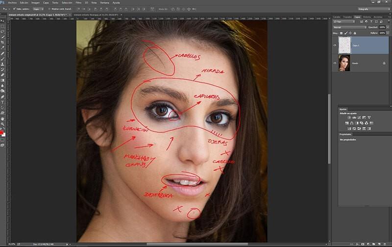 Retocar retratos con Photoshop: áreas a retocar
