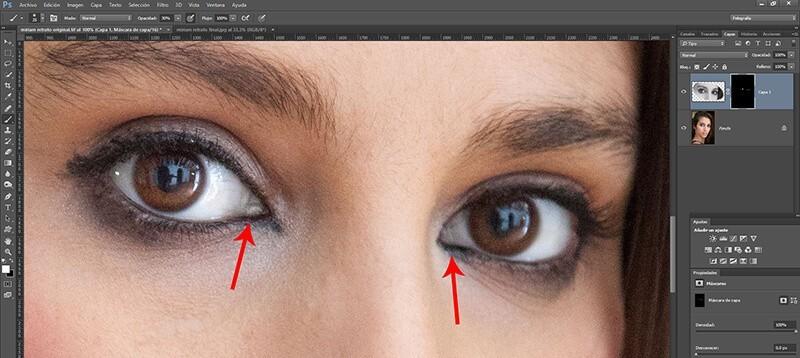 Retocar retratos con Photoshop: eliminación del color en capilares de los ojos