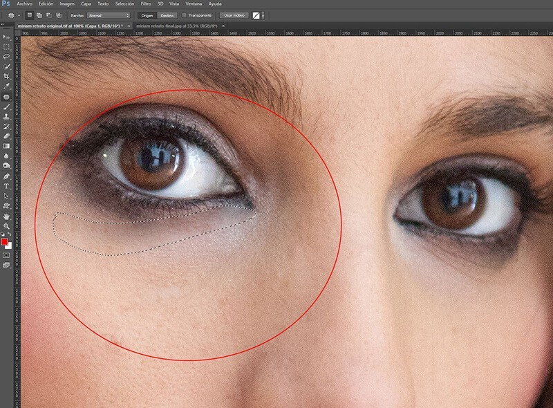 Retocar retratos con Photoshop: suavizado de ojeras