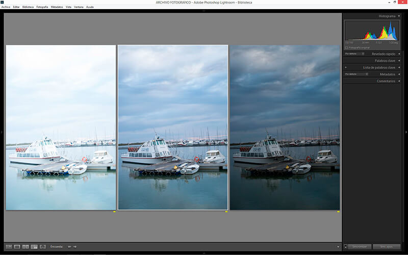 Recorte de Lightroom 3 fotogramas barcos