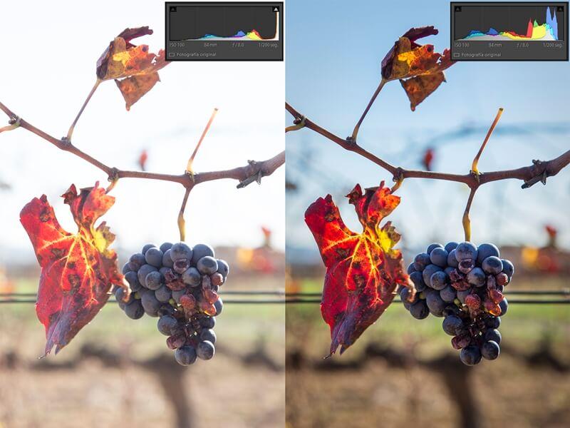 Técnica del derecheo en cámara (izquierda) y resultado final tras la edición (derecha)