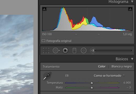 Establecemos un valor intermedio en la temperatura de color