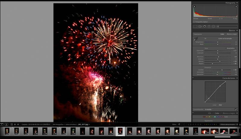 Photographier les feux d'artifice : lightroom