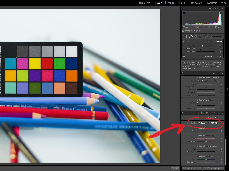 Calibración de color fotografía