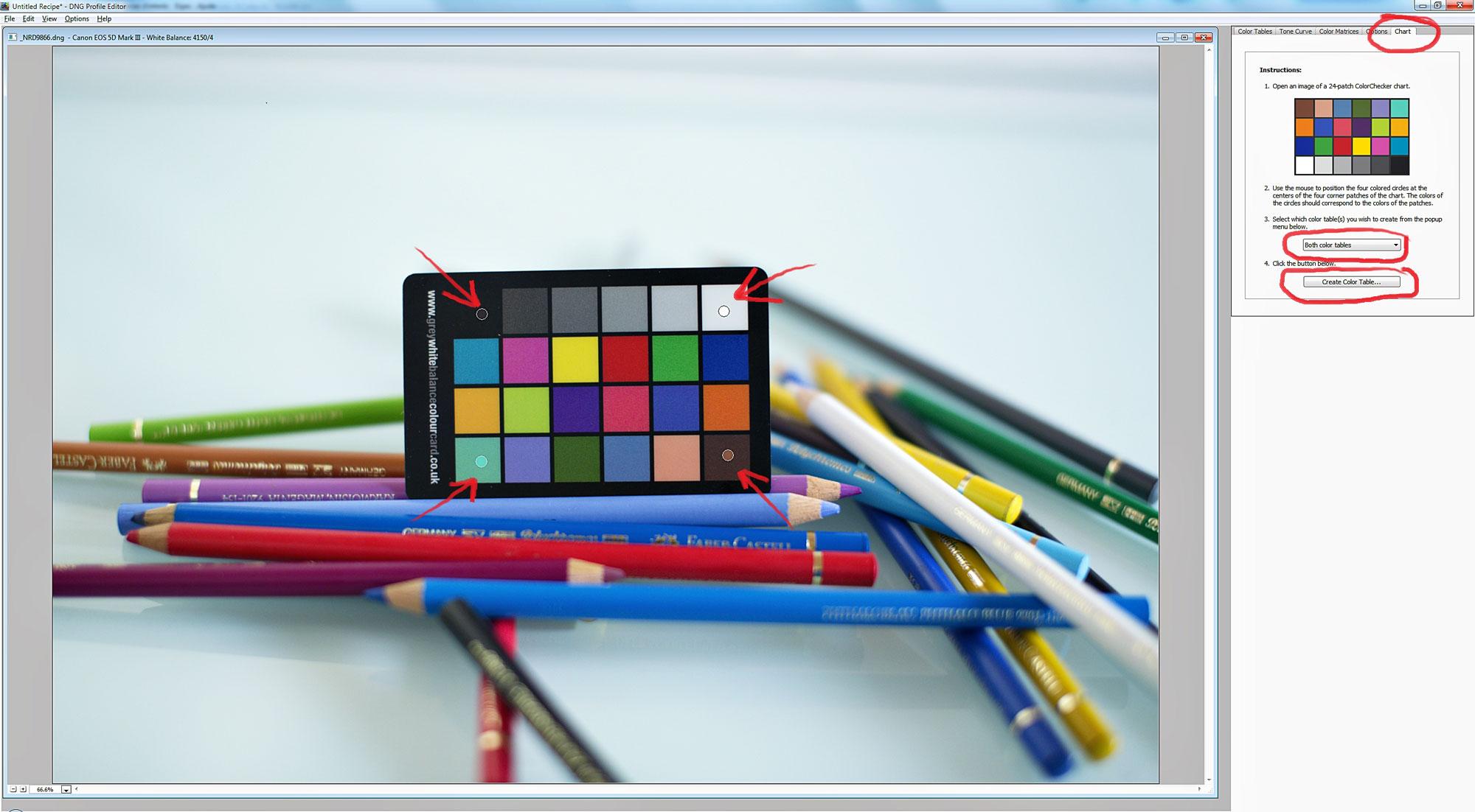 Tarjeta de calibración de color