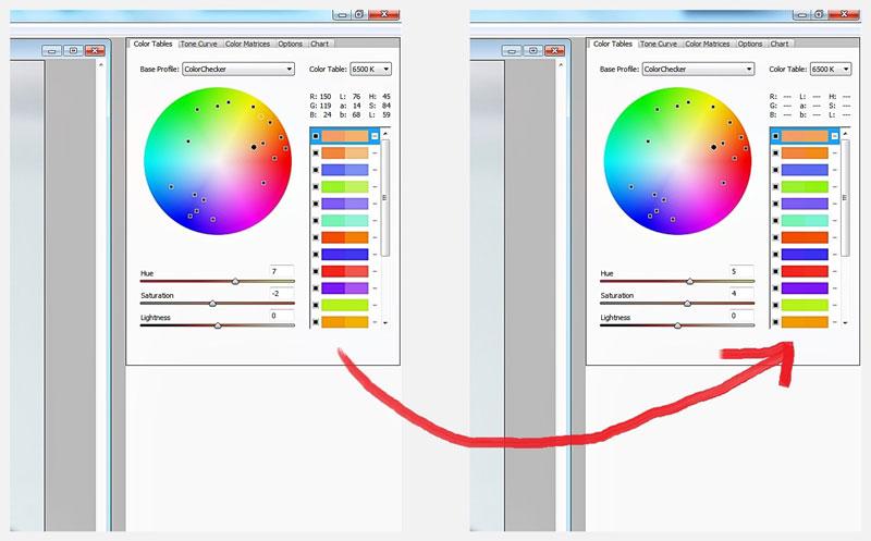 Paleta de calibración de color