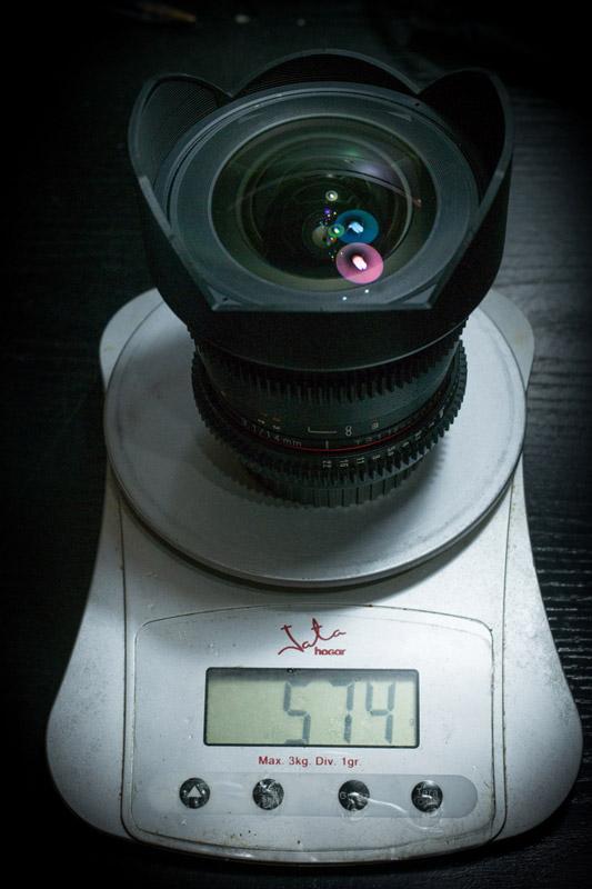 Peso del Samyang 14mm