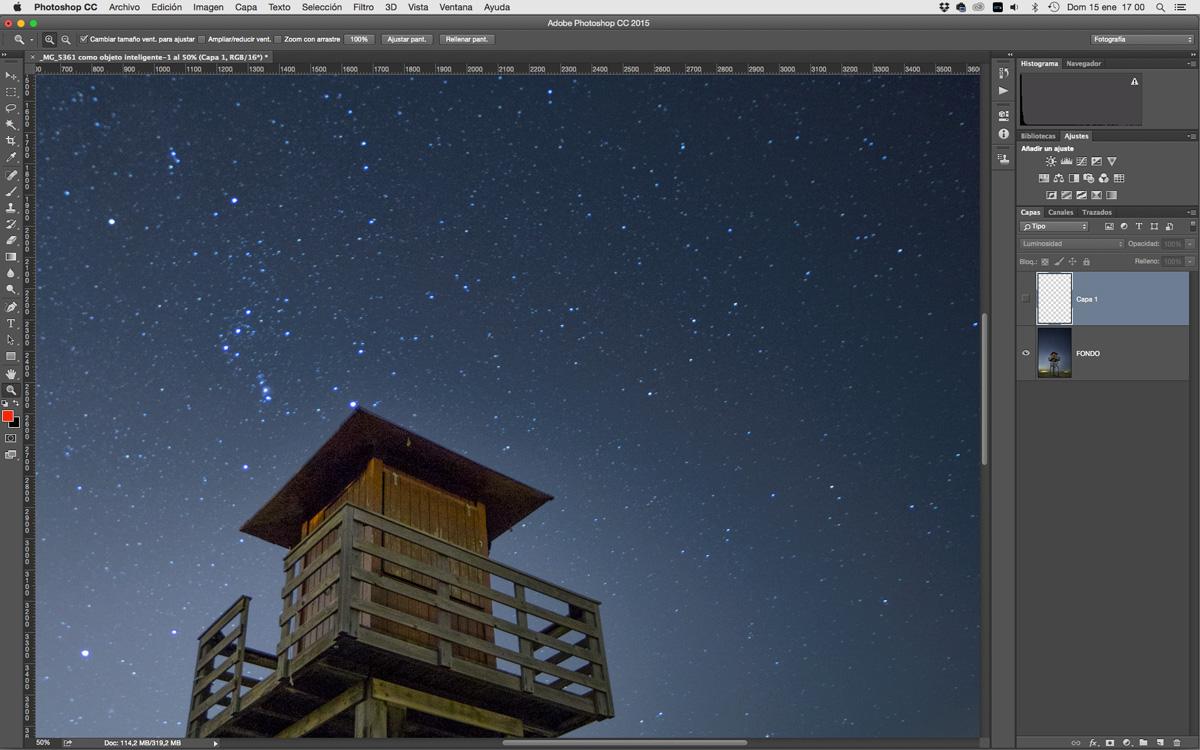 Retocar cielos estrellados
