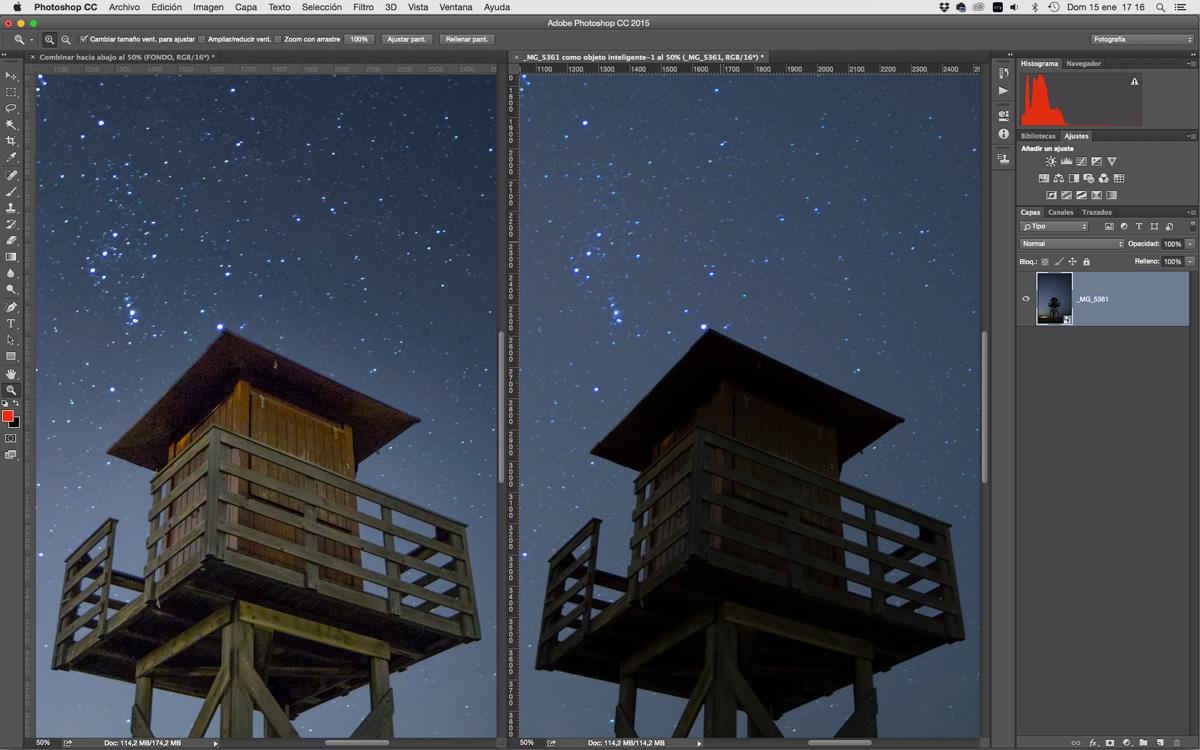 retoques de cielos estrellados fotografía