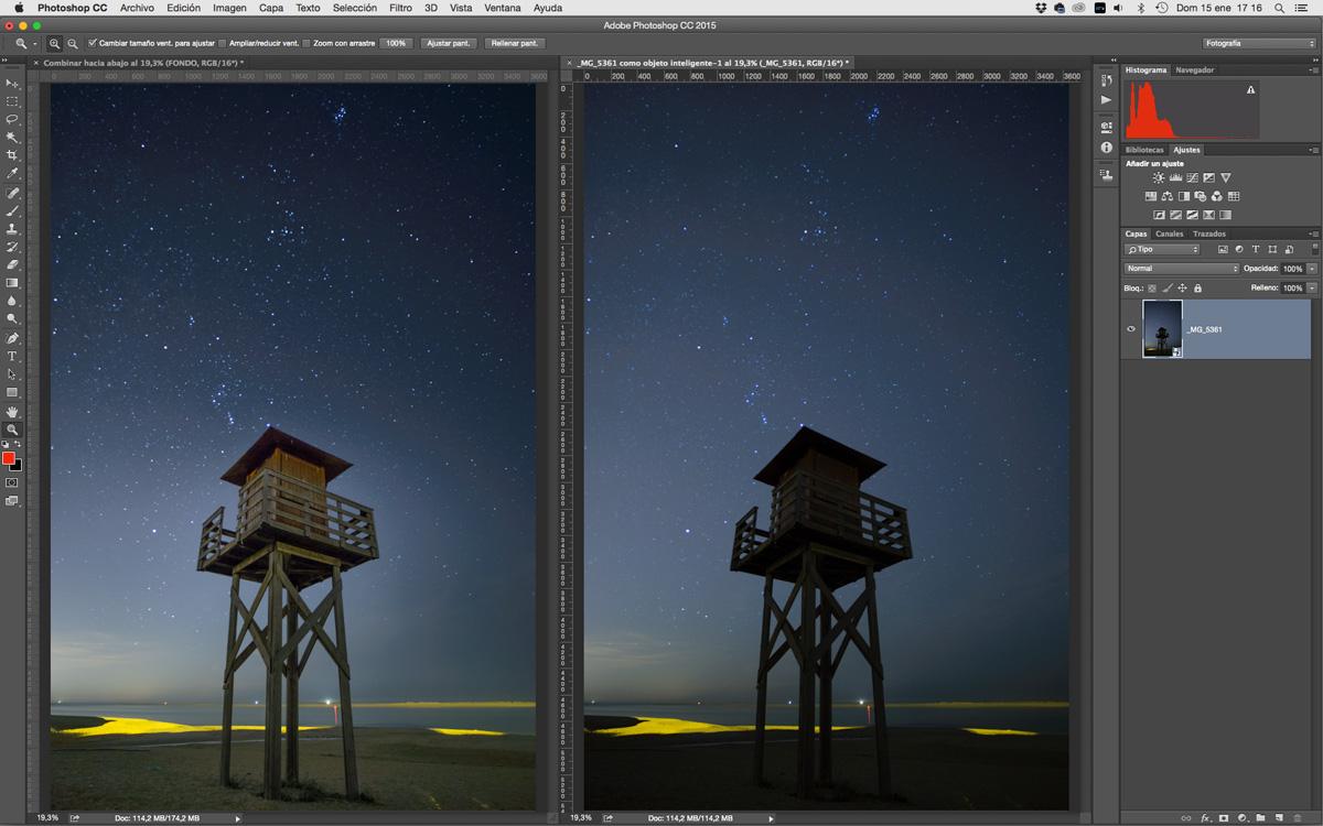 retocar fotografías nocturnas de cielos estrellados