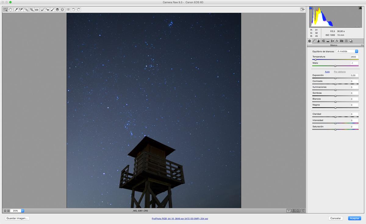 retocar fotografías nocturnas