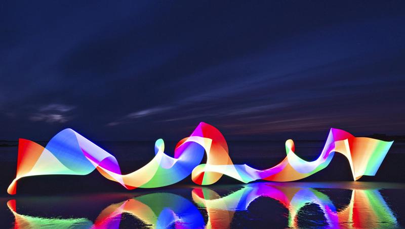 Arcoiris abstracto con Pixelstick