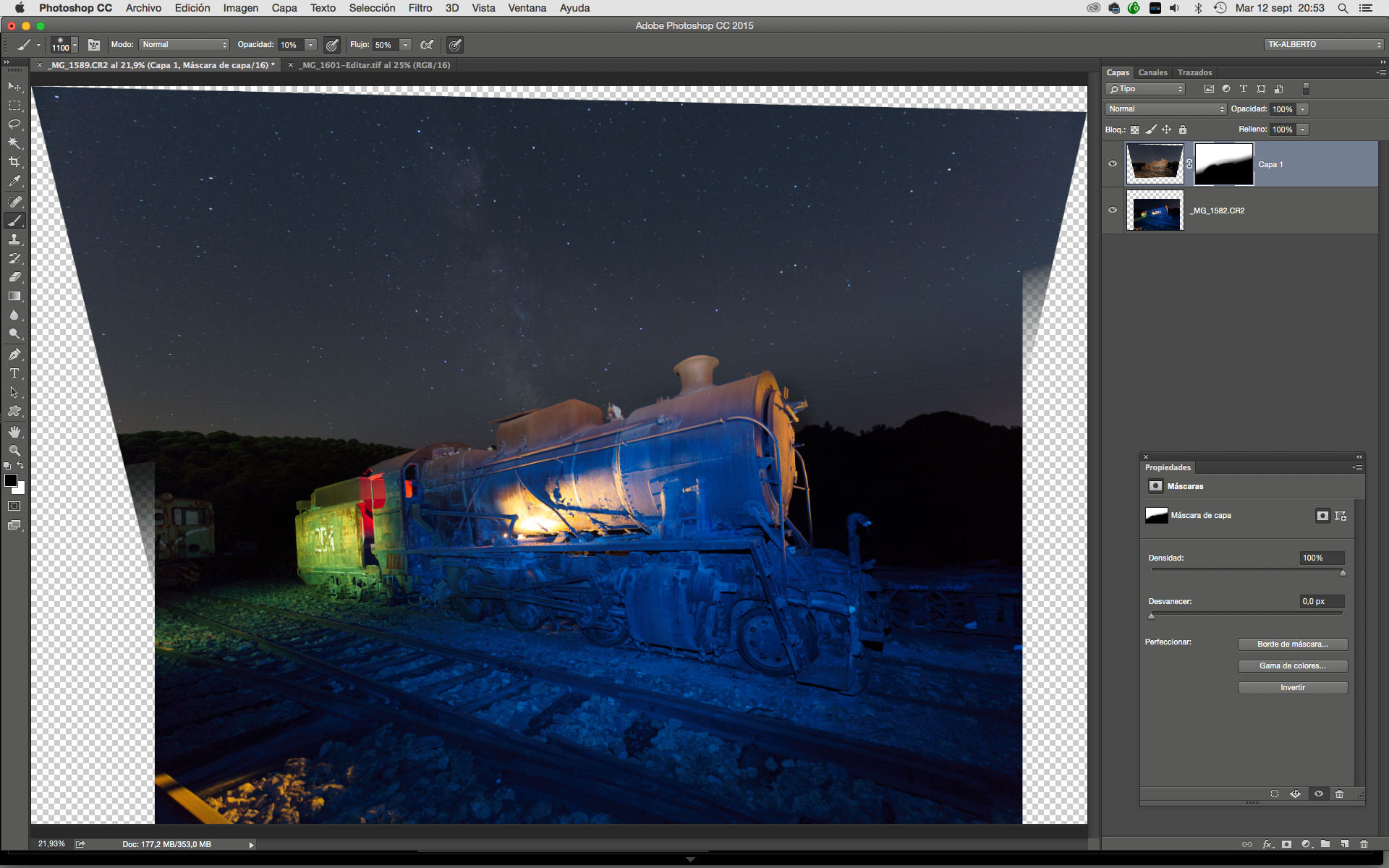 Des gels couleur pour flash sur les paysages industriels : édition sur Photoshop