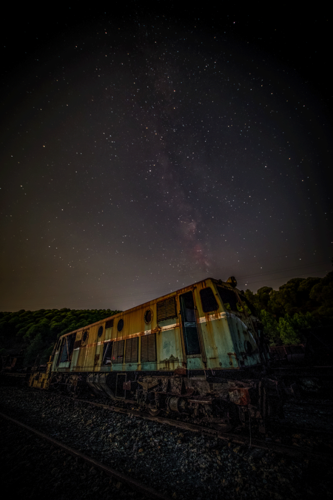 Milky Way and an abandoned locomotive