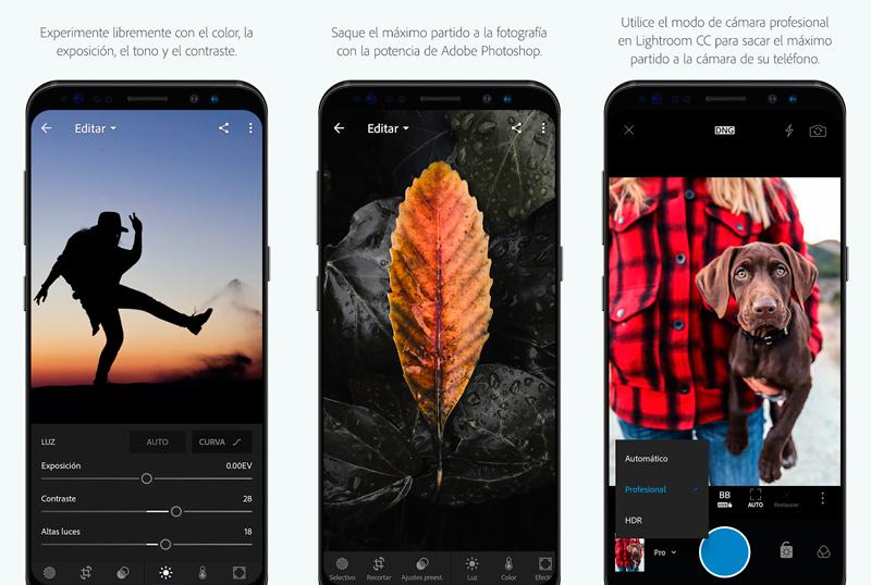 Aplicación fotográfica: Interfaz Ligthroom