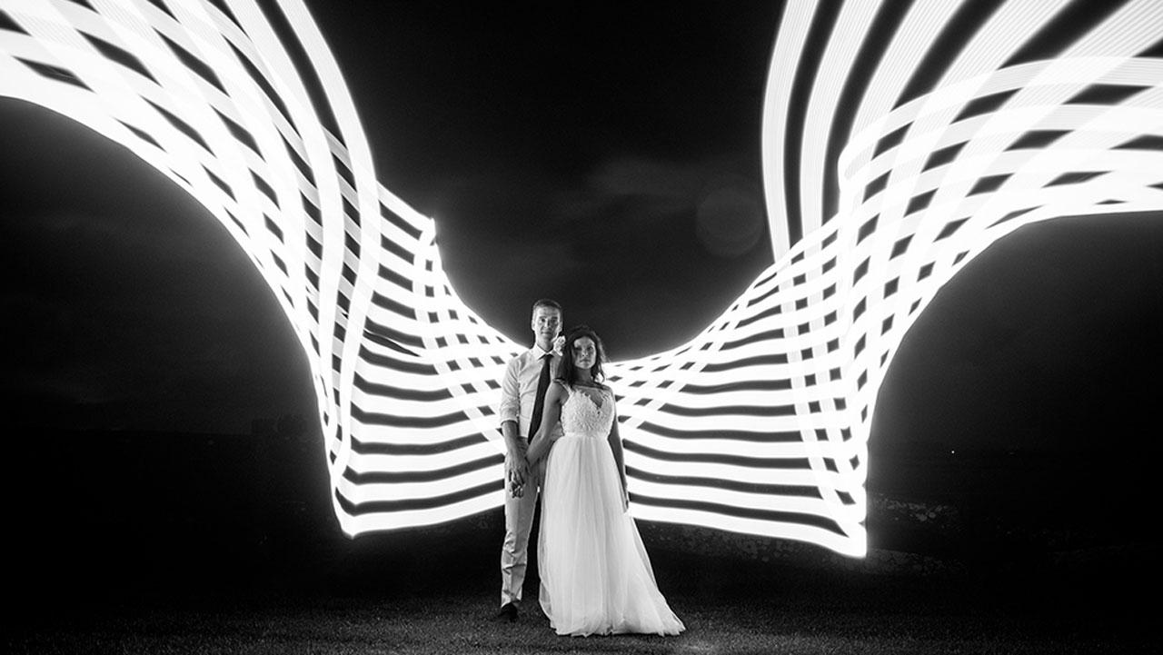 formes lumineuses sur des photos de mariage créatives