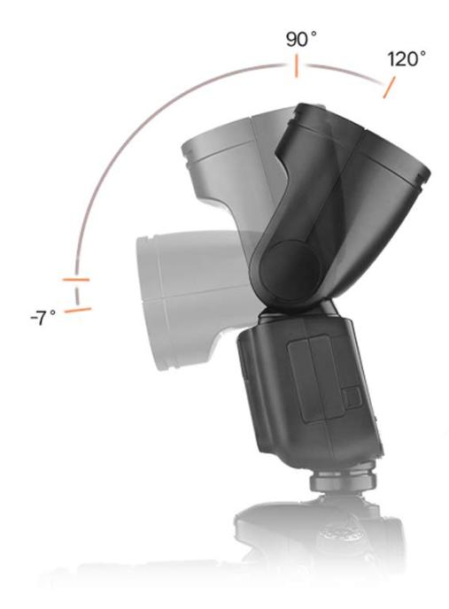 El cabezal del flash Godox V1 tiene una gran movilidad