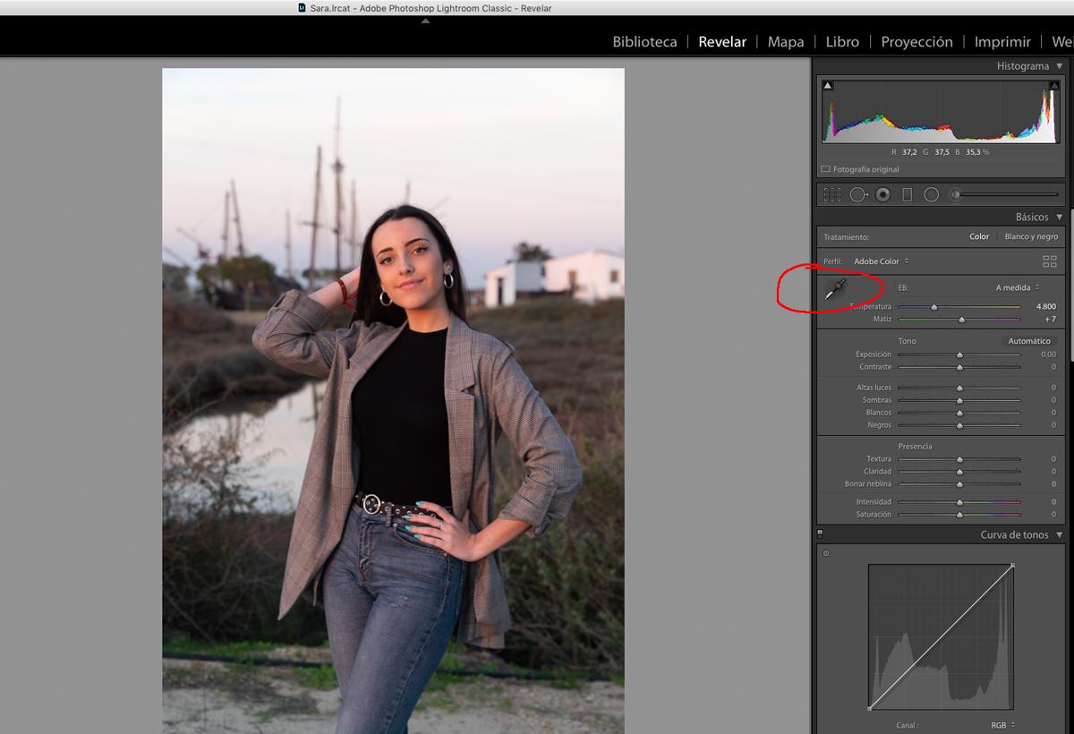 El primer paso en la edición de retratos es ajustar el balance