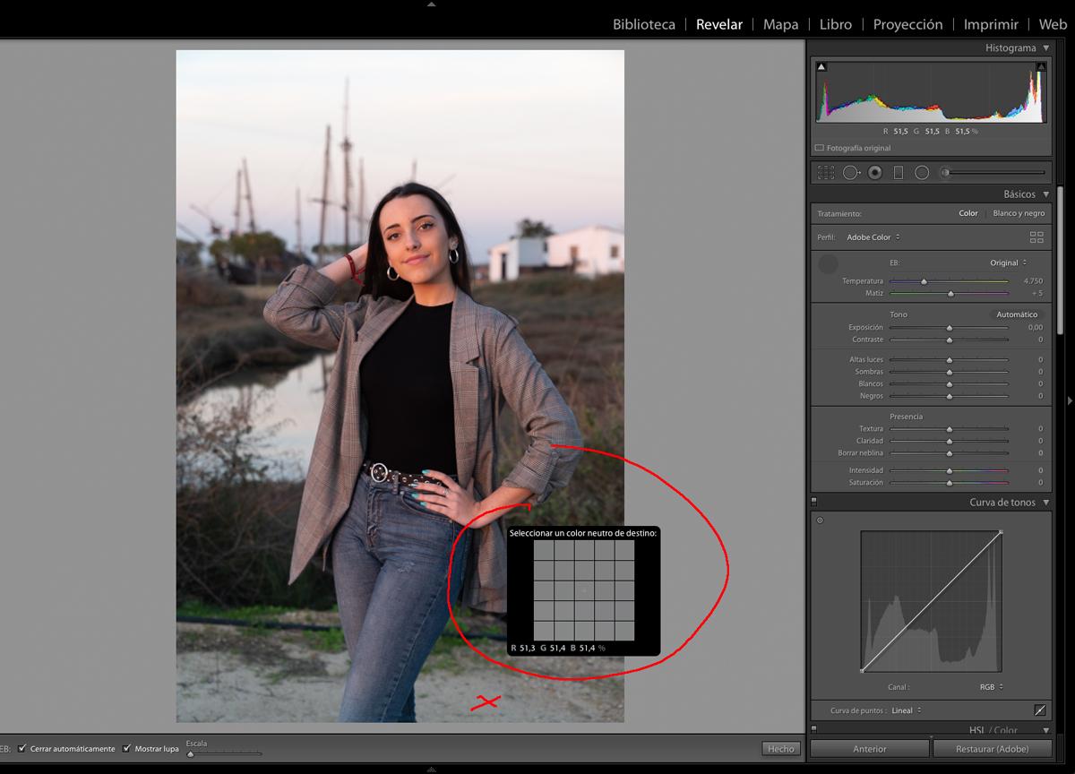 Usa un color neutro de la fotografía