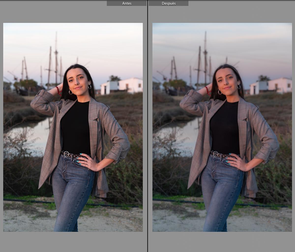 Comparación después del primer paso en la edición de retratos