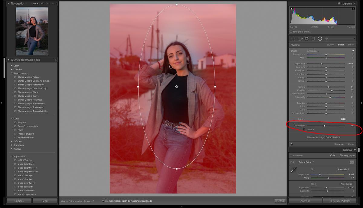 En la edición de retratos uso un degradado radial para el entorno