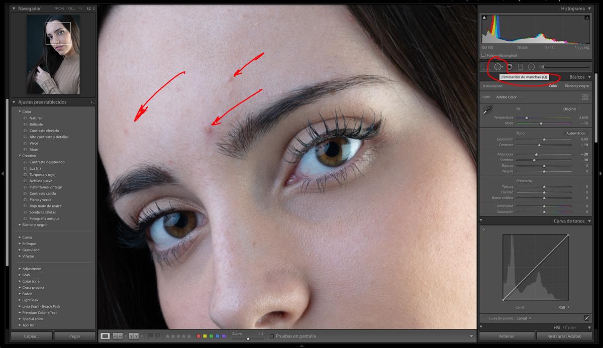 Corrijo las imperfecciones de la piel en la edición de retratos