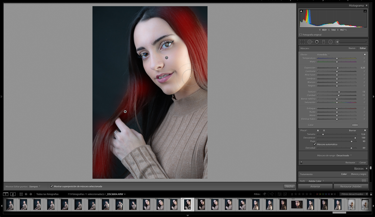 También le damos brillo al pelo en la edición de retratos