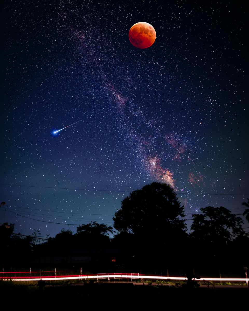 Fotografiar estrellas fugaces: Captura también la luna