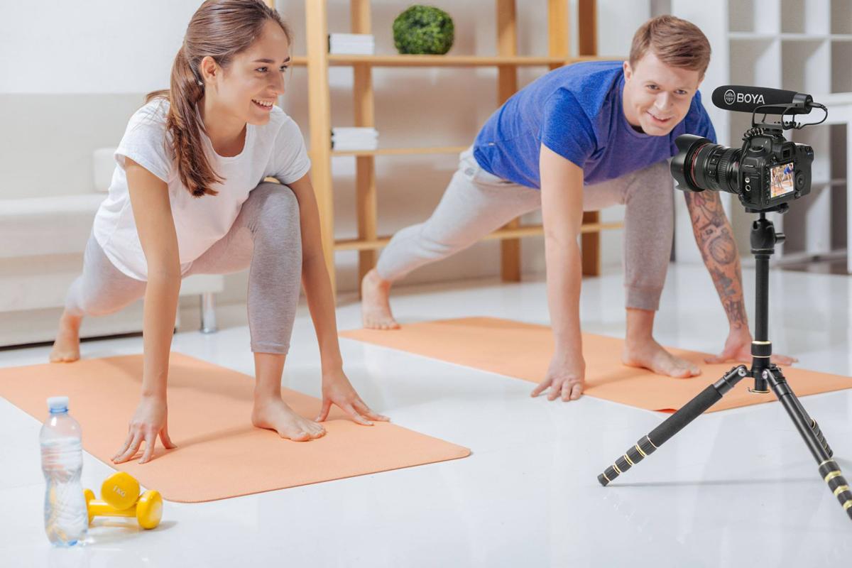 Grabación de un tutorial de yoga
