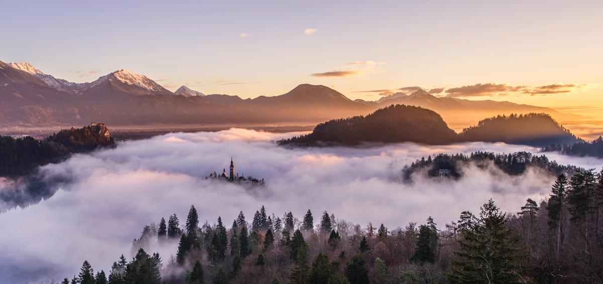 Fotografía de niebla en un valle