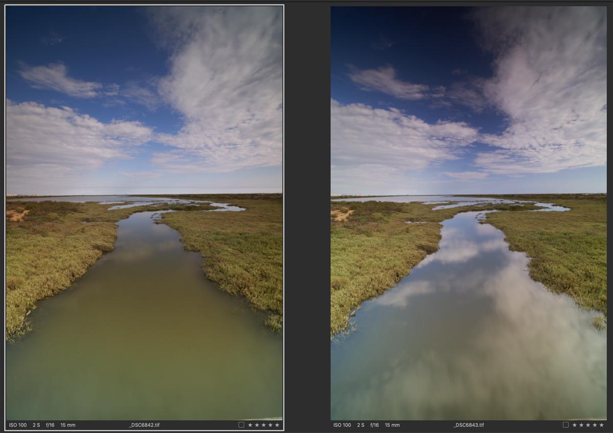 Comparativa de dos fotografías realizadas una con filtro polarizador y otra sin filtro polarizador